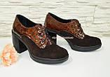 Женские коричневые туфли на устойчивом каблуке, фото 2