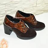 Женские коричневые туфли на устойчивом каблуке, фото 4