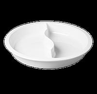 Гастроемкость круглая двойная 39х6,2 см., 4000 мл. фарфоровая, белая Buffet, RAK