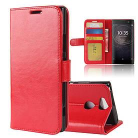 Чехол книжка для Sony Xperia XA2 H3113 боковой с отверстием под динамик, Гладкая кожа, красный