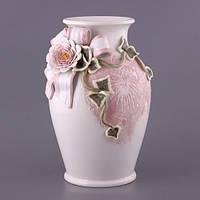 """Ваза керамическая 34 см. """"Розы и кружево"""" белый с розовым"""