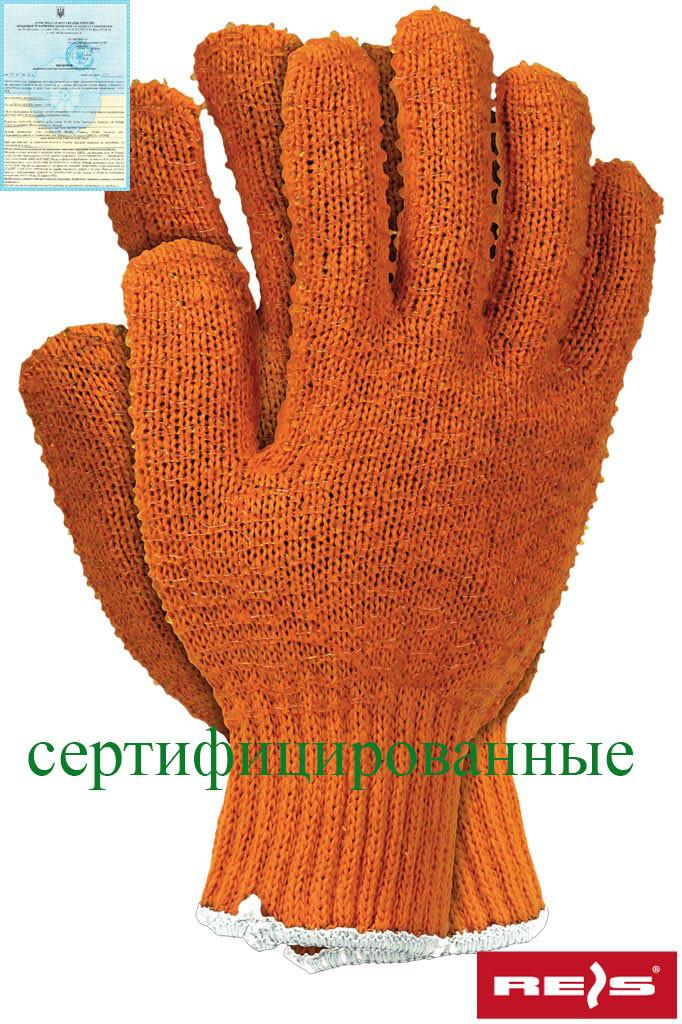 Защитные рукавицы, выполненные из трикотажа оранжевого цвета, завершены резинкой RCROSS P
