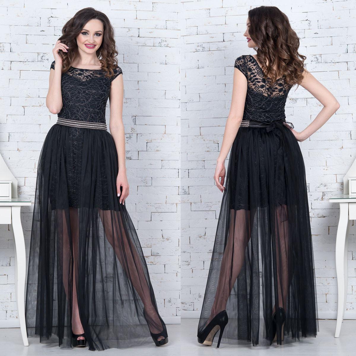 """Черное вечернее, выпускное платье трансформер """"Империя"""""""