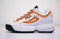 Женские кроссовки Fila Disruptor II White Orange Combo (реплика), фото 1