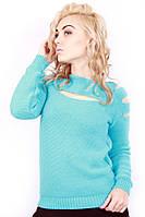 Стильный женский свитер. Бирюза