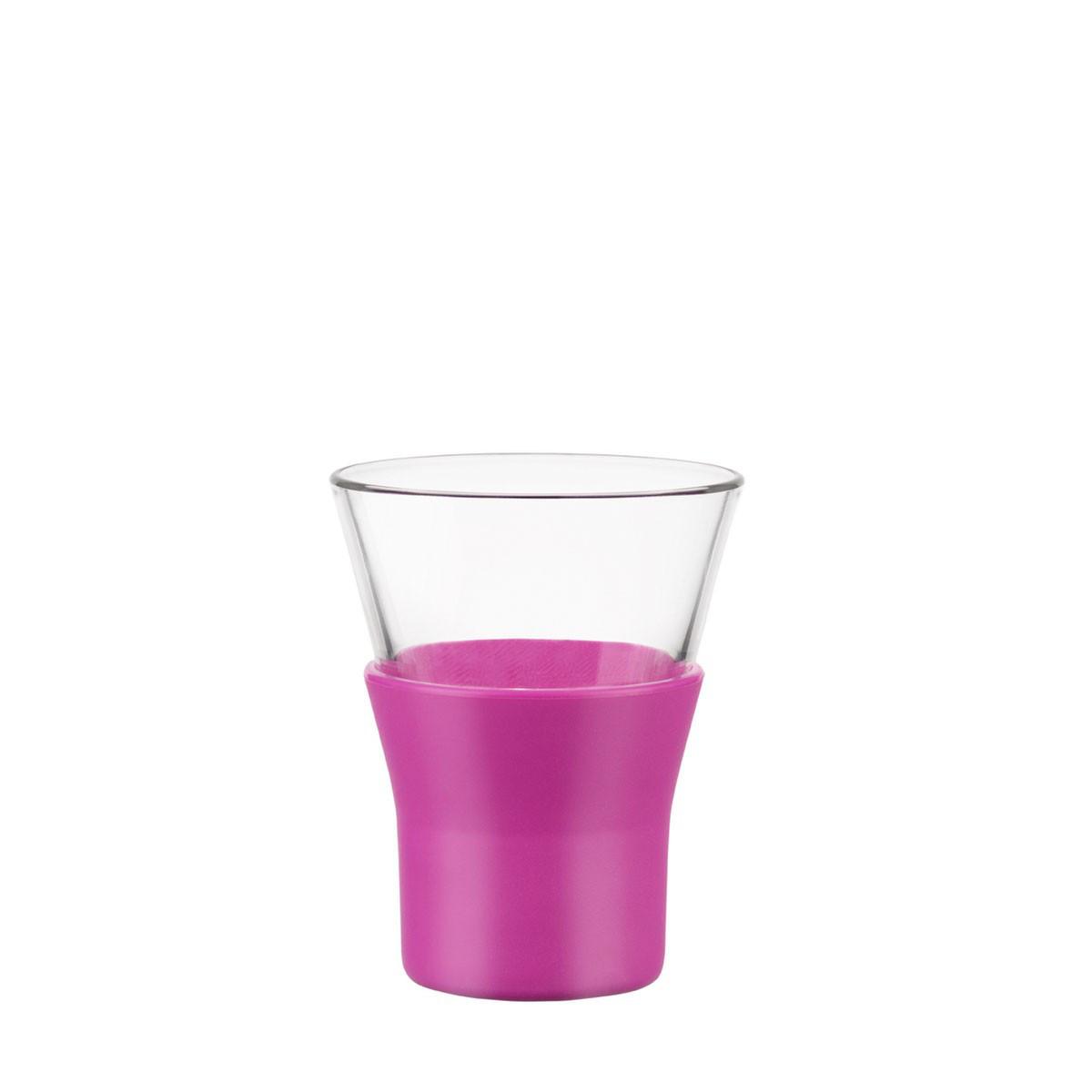 Стакан для кофе 110 мл. стеклянный с силиконовым розовым чехлом espresso Ypsilon, Bormiolli Rocco