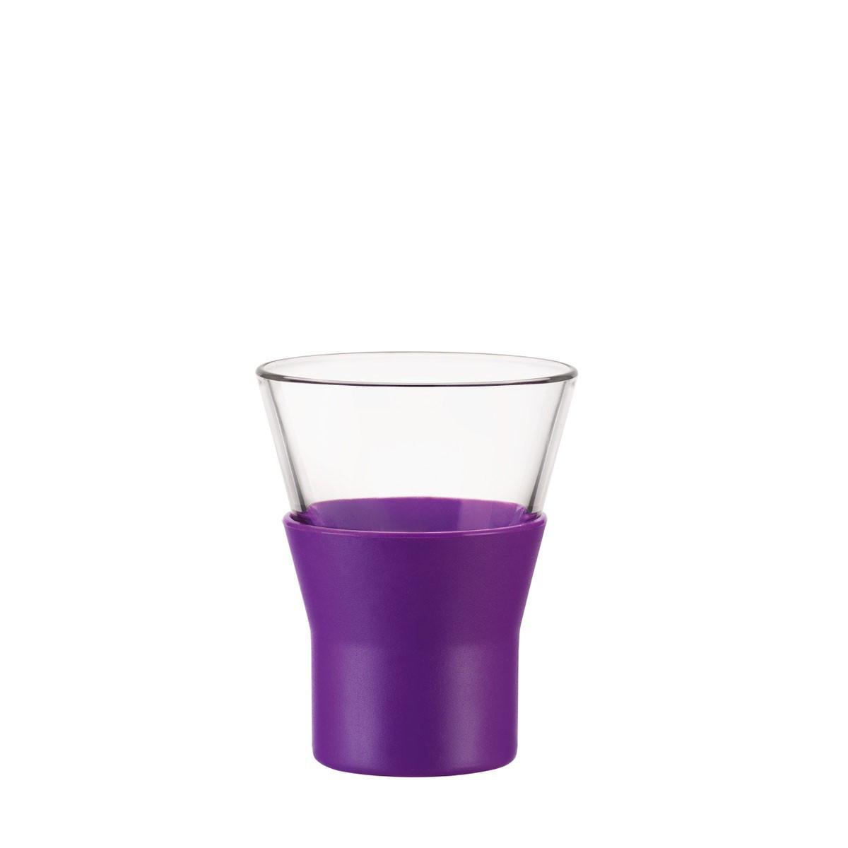 Стакан для кофе 110 мл. стеклянный с силиконовым фиолетовым чехлом espresso Ypsilon, Bormiolli Rocco