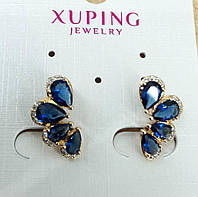 Серьги 532. Синие серёжки половинки. Бижутерия оптом RRR, серьги Xuping.