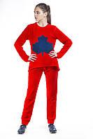 Костюм спортивный женский флис красно синий