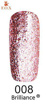 Гель-лак FOX Brilliance № 008 (кремово-розовый, со слюдой), 6 мл