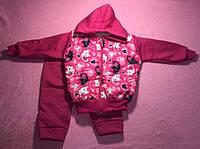 Костюм — трехнитка 6-9 мес.Спортивный костюмчик с капюшоном Кошечки, сердечки и бабочки