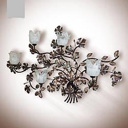 Большое бра, настенный светильник в стиле флористика с виноградным листом на 5 лампочек 2535