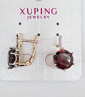 Серьги 535. Маленькие янтарные серёжки. Бижутерия оптом RRR, серьги Xuping.