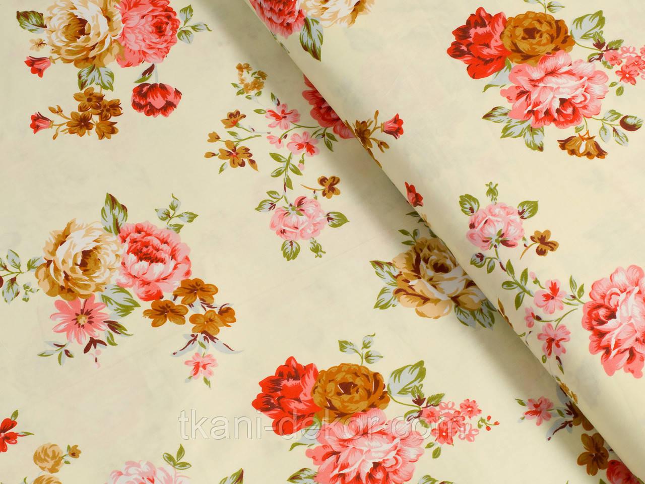 Сатин (хлопковая ткань) на ванильном фоне крупные розы