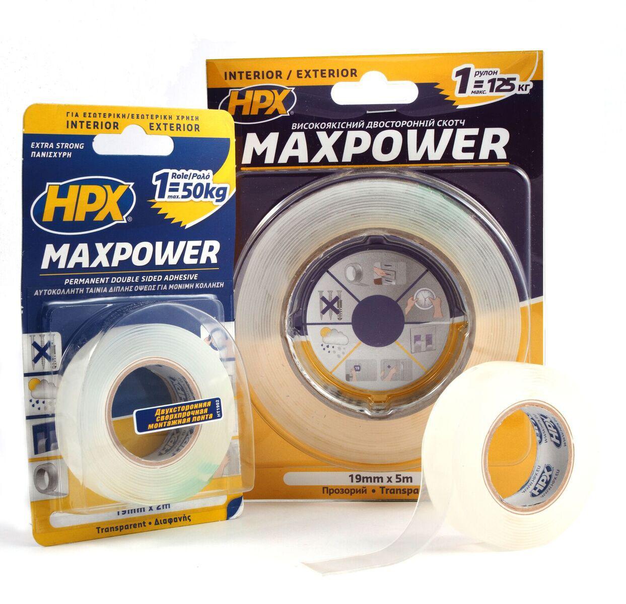 MAXPOWER - прозрачная двусторонняя лента (скотч) для экстремальных нагрузок