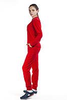 Костюм спортивный женский флис красный с кожаными вставками