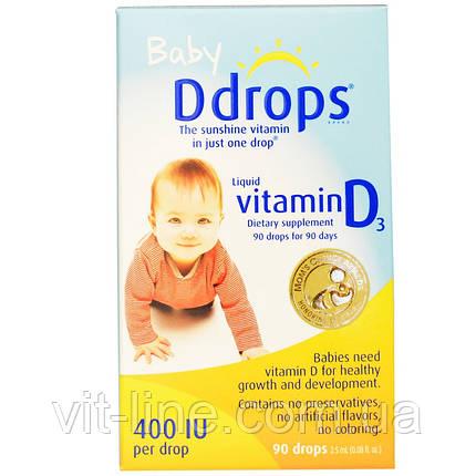 Ddrops, Жидкий витамин D3 для детей, 400 МЕ, (2.5 мл), 90 капель, фото 2