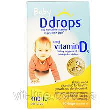 Ddrops Жидкий витамин D3 для детей, 400 МЕ, (2.5 мл), 90 капель
