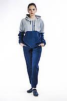 Костюм спортивный женский флис синий с серым замок капюшон