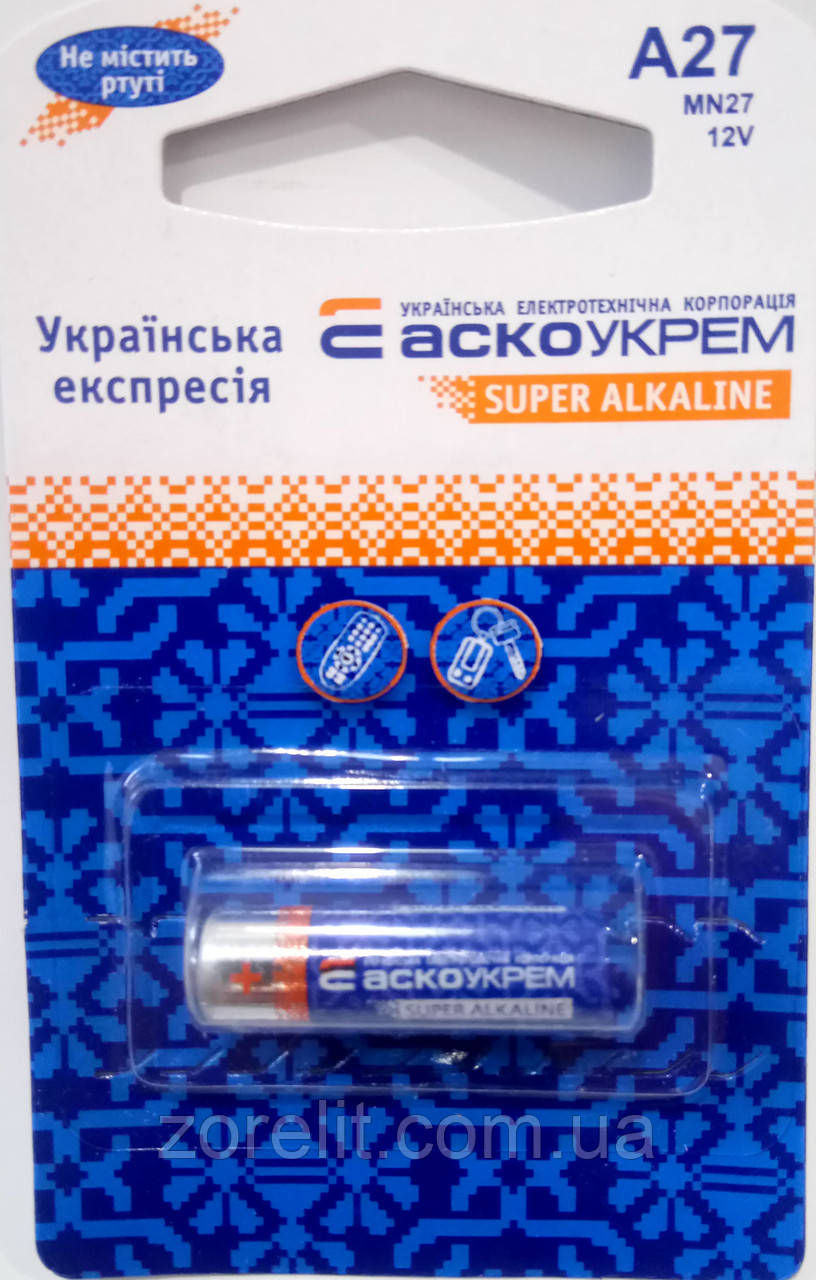 Батарейка Аско A27 (1шт)
