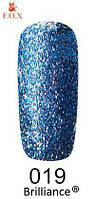 Гель-лак FOX Brilliance № 019 (яркий голубой, со слюдой), 6 мл