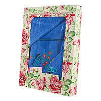 Синий набор махровых полотенец Бабочки банное и для лица