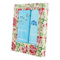 Бирюзовый набор махровых полотенец Незабудка банное и для лица