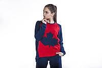 Костюм спортивный женский флис синий красный перед