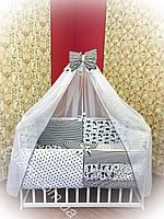 Комплект детского постельного белья польский хлопок 9 в 1 ТМ Bonna Кошка в полоску черно-белого цвета