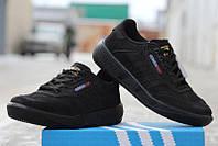 """Мужские кроссовки Adidas """"OLYMPIC"""", московский Адидас Иран, качественная обувь для бега Olympia черные нубук."""