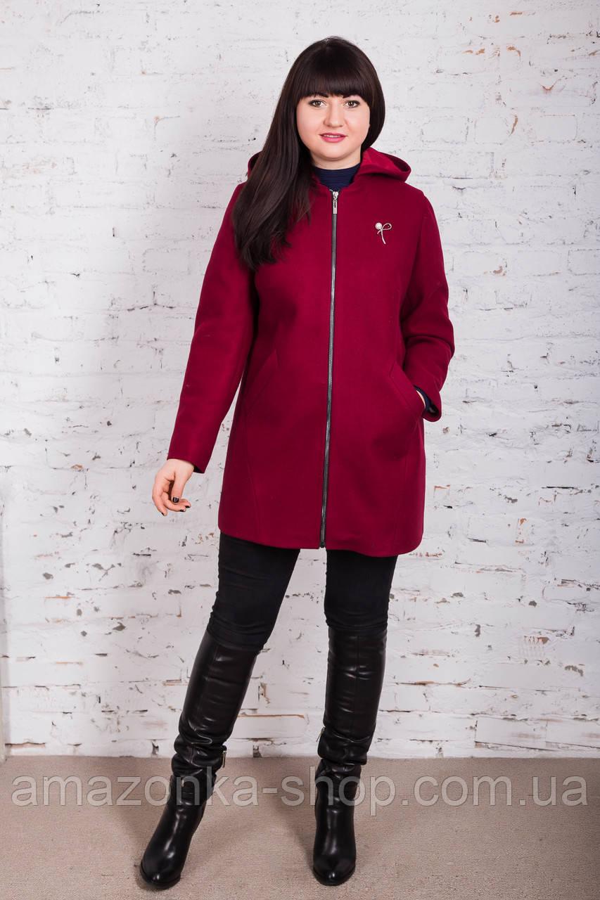 Женское пальто с капюшоном БАТАЛ от производителя модель весна 2018 - (рр-60)