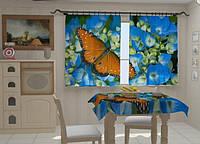 """Фото штора """"Бабочка на голубом"""" 150 х 250 см"""