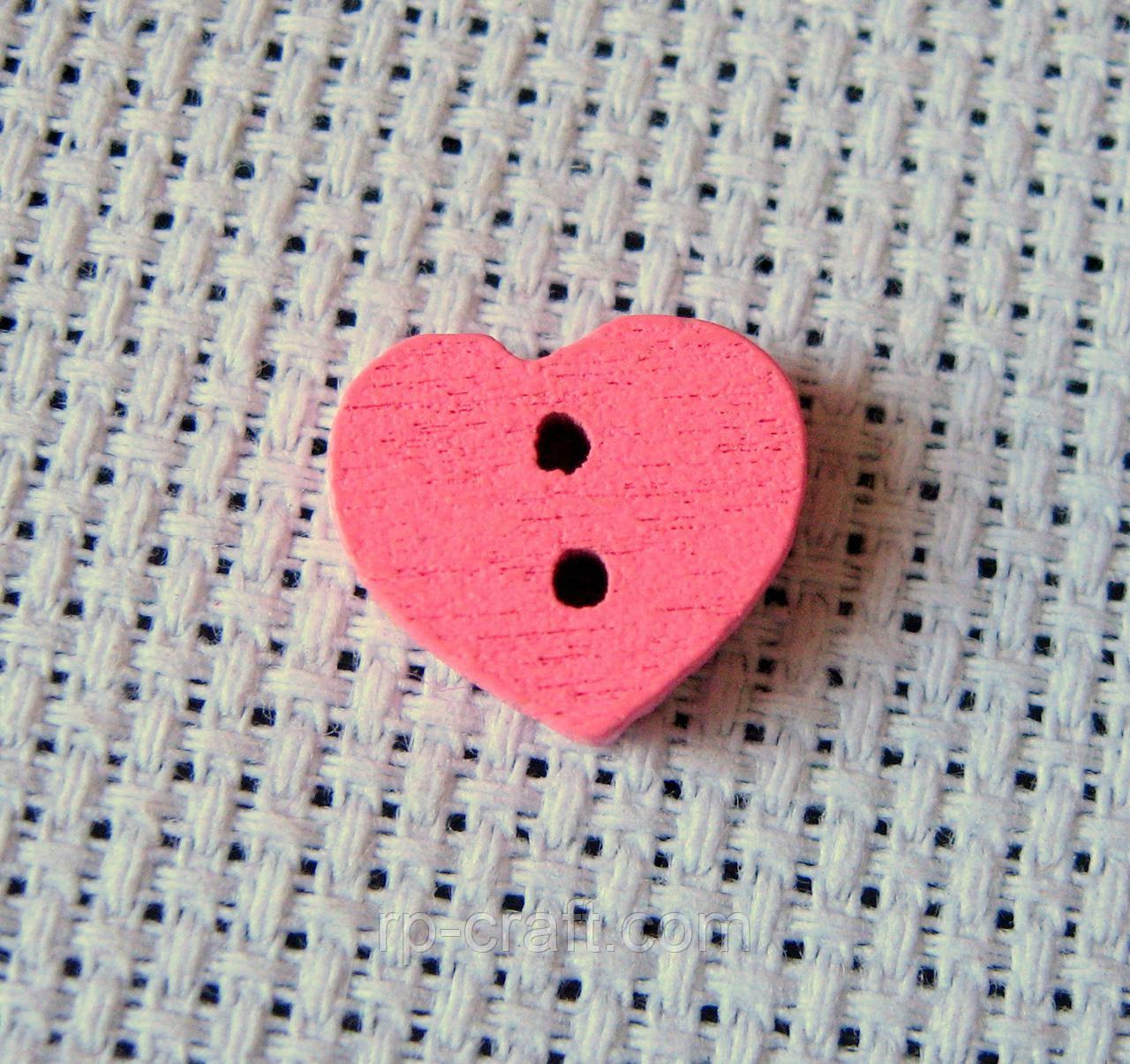 Гудзик дерев'яний, декоративний. Серце 11х13 мм, рожевий