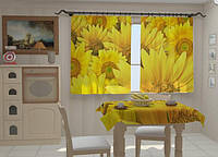 "Фото штора ""Подсолнухи в кухне"" 150 х 250 см"
