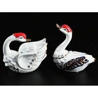 Фарфоровые статуэтки Лебеди белые