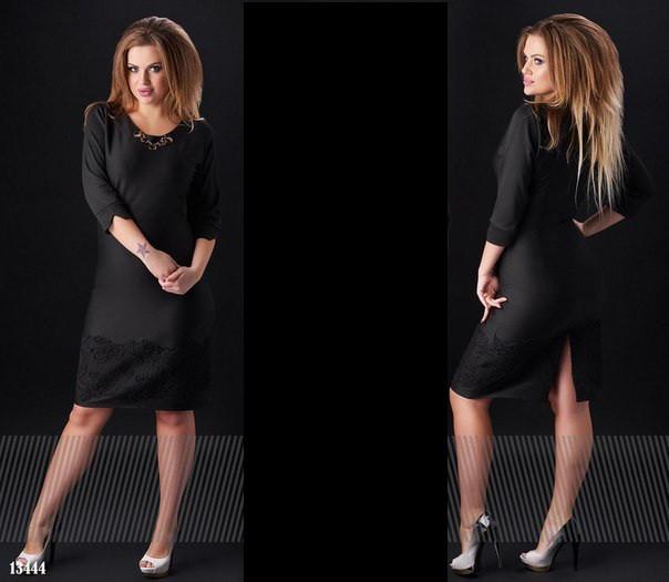 f0e82b0173b Приталенное строгое черное платье до колен размеры 48 50 52 54 ...