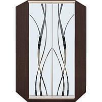 Угловой шкаф купе с рисунками на зеркале (пескоструй)
