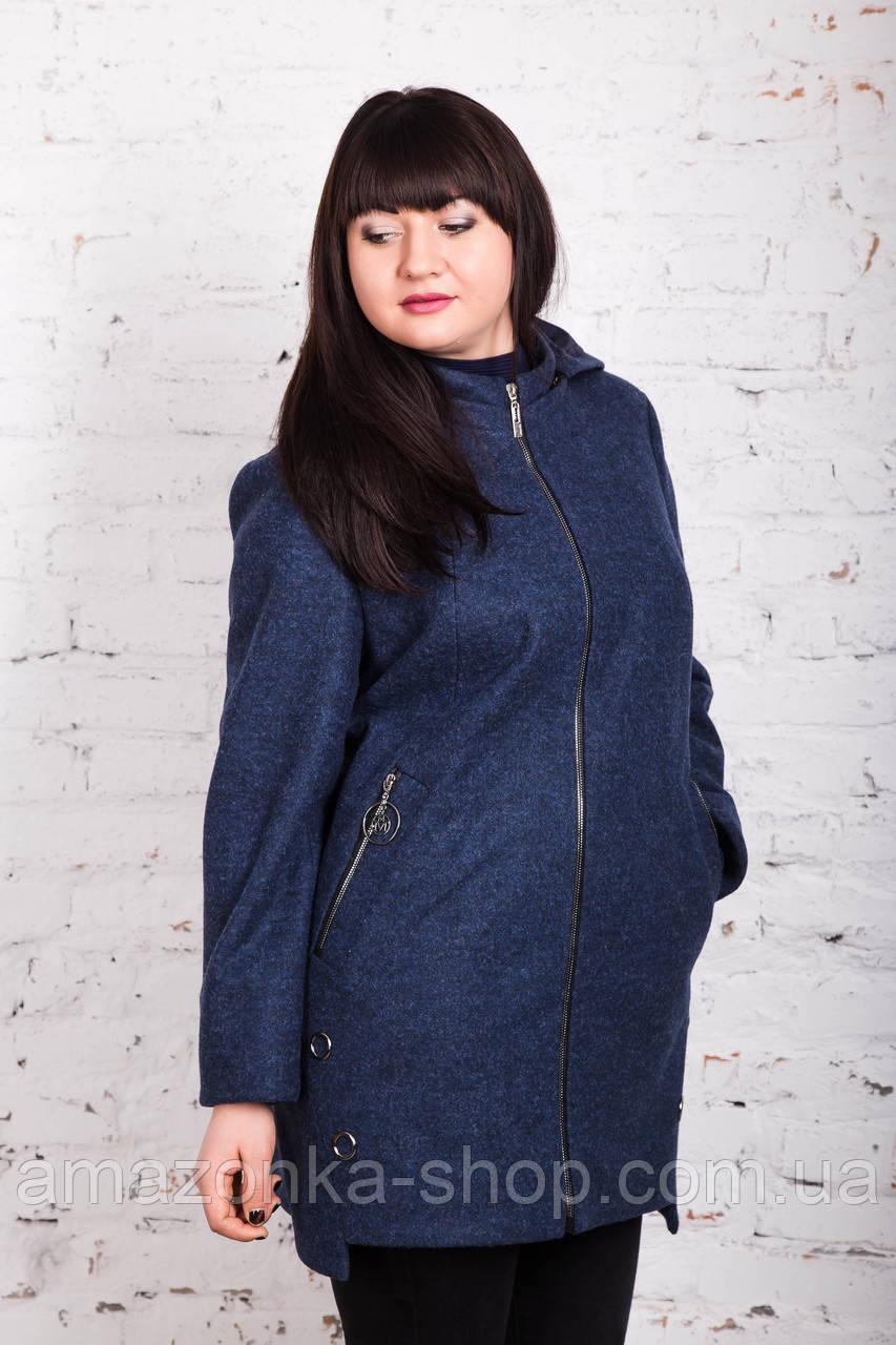 Женское пальто с капюшоном батального размера от AMAZONKA модель весна 2018 - (рр-76)