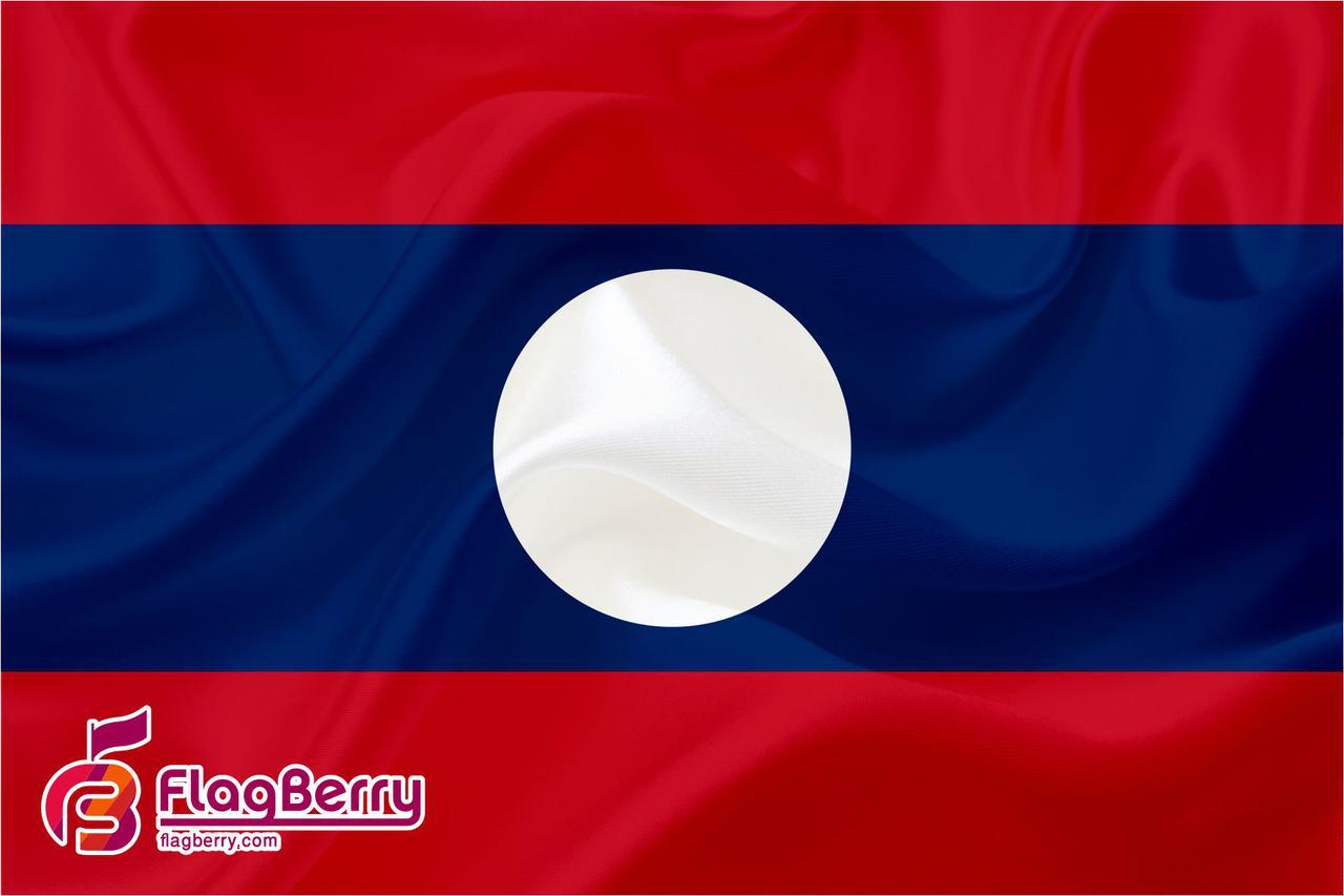 Флажок Лаоса 13,5*25 см., плотный атлас