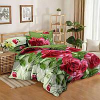 Двуспальный комплект постельного белья евро 200*220 сатин (9218) TM KRISPOL Украина