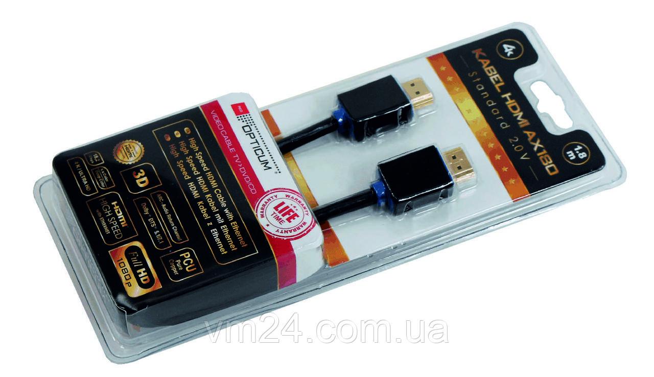 Кабель HDMI-HDMI 2.0  AX180-1,8m 3D, 4K/UltraHD