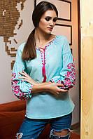 Вышитая блуза мятного цвета