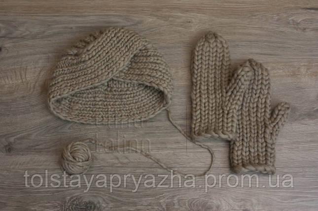 Варежки из толстой пряжи (итальянский меринос 100%), фото 2