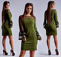 Оливковое нарядное приталенное платье с пышными рукавами. Арт-4061/26