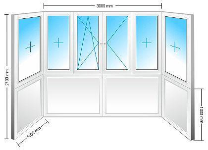 Балкон металлопластиковый-Стандарт