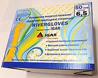 """Рукавички медичні латексні хірургічні припудрені стерильні """"RIVERGLOVES""""  роз. 6  - 8.5."""