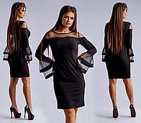 Черное нарядное приталенное платье с пышными рукавами. Арт-4061/26