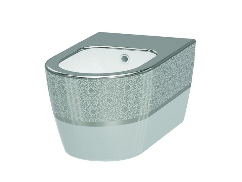 Биде подвесное IDEVIT Alfa белый/декор серебро