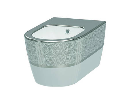 Биде подвесное IDEVIT Alfa белый/декор серебро, фото 2