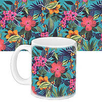 Кружка подарок с принтом Тропические цветы